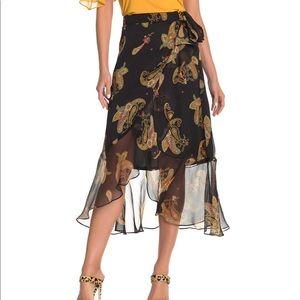 VINCE Camuto Paisley Black Ruffle Wrap Dress Sz 14